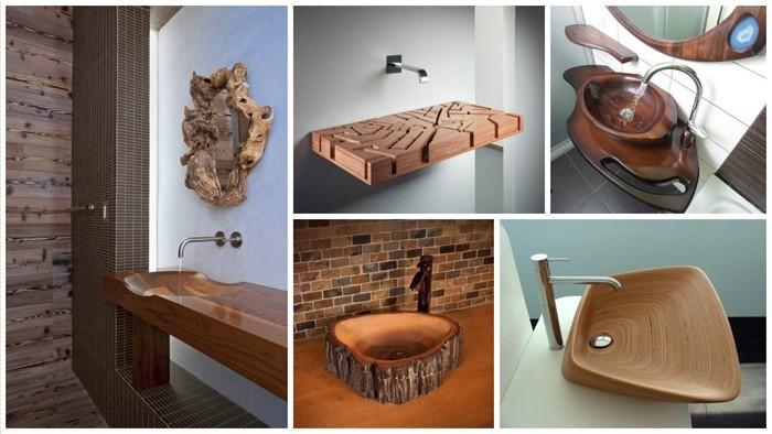 holzwaschbecken badezimmer gestalten holzoberfläche vier variante