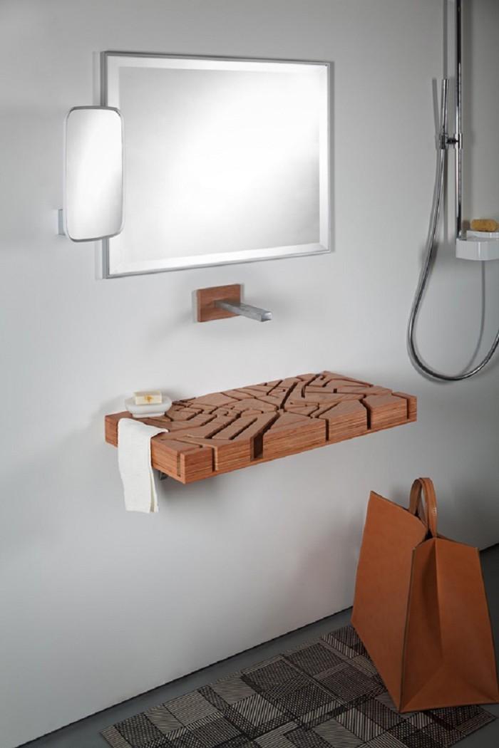 holzwaschbecken badezimmer gestalten holzoberfläche wasserrinne