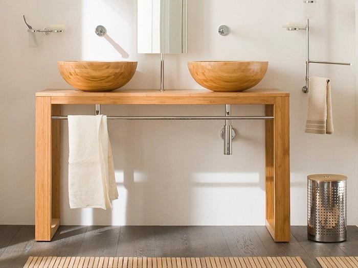 holzwaschbecken badezimmer gestalten rund schüssel