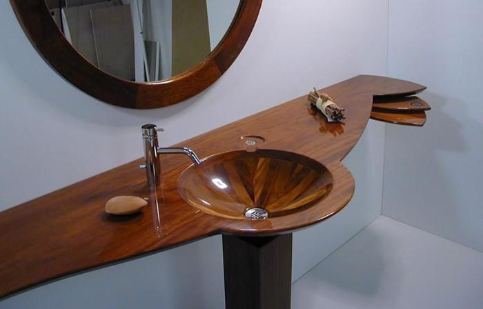 holzwaschbecken badezimmer gestalten rund