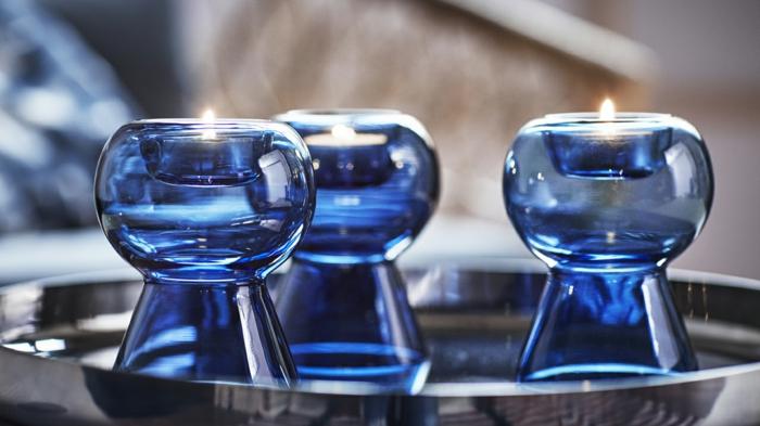 ikea stockholm kollektion blaues mundgeblasenes glas windlichter