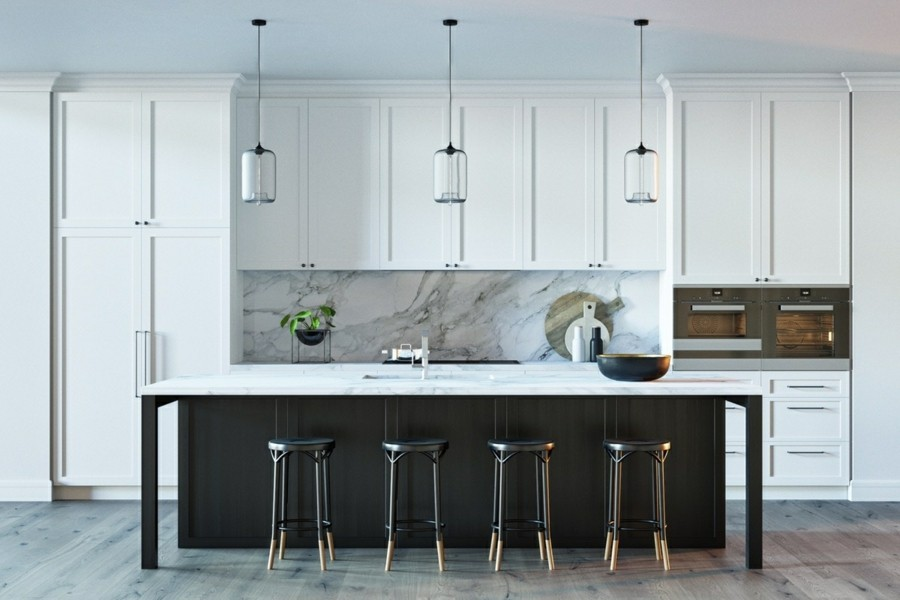 küche einrichten marmor moderne kücheneinrichtung mit weissen schränken