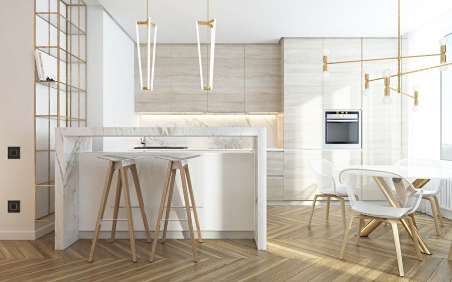 kücheneinrichtung mit marmor kücheninsel und küchenrückwand