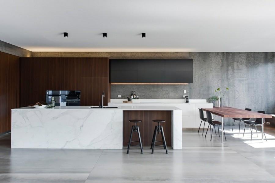küchengestaltung mit marmor kücheninsel wandverkleidung tapeten