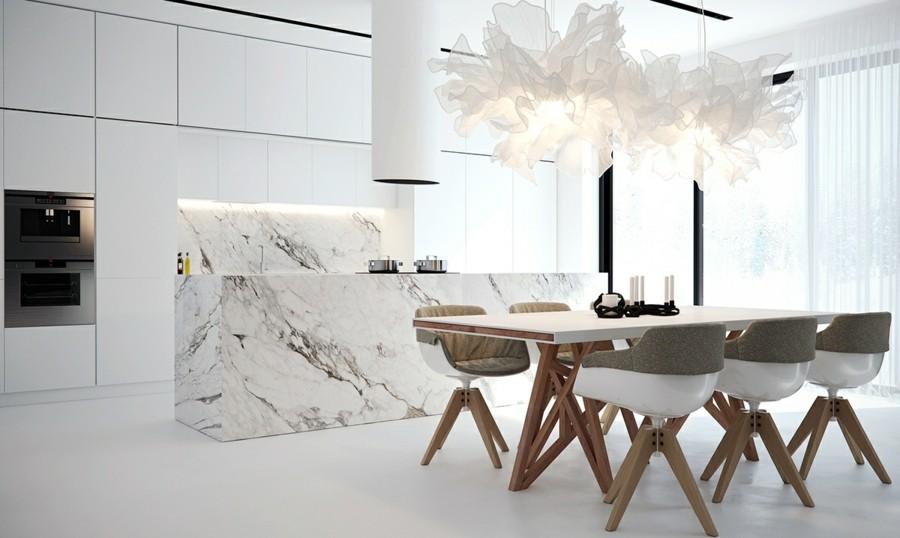 kücheninsel aus marmor großer esstisch mit designer stühlen