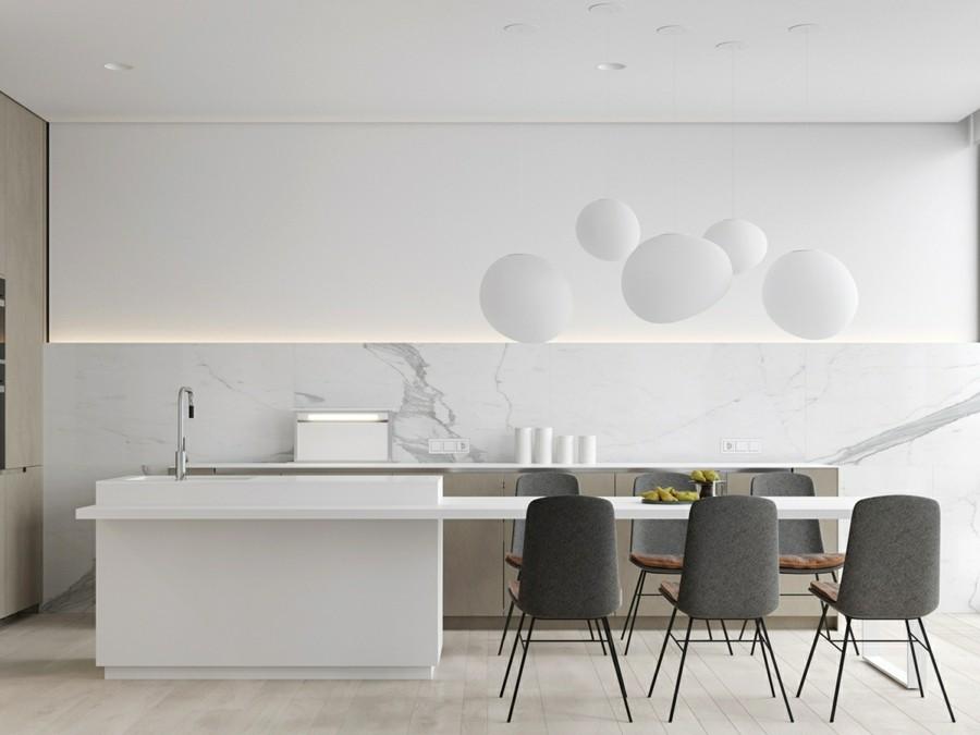 küchenrückwand aus marmor mit grober maserung weiß grau
