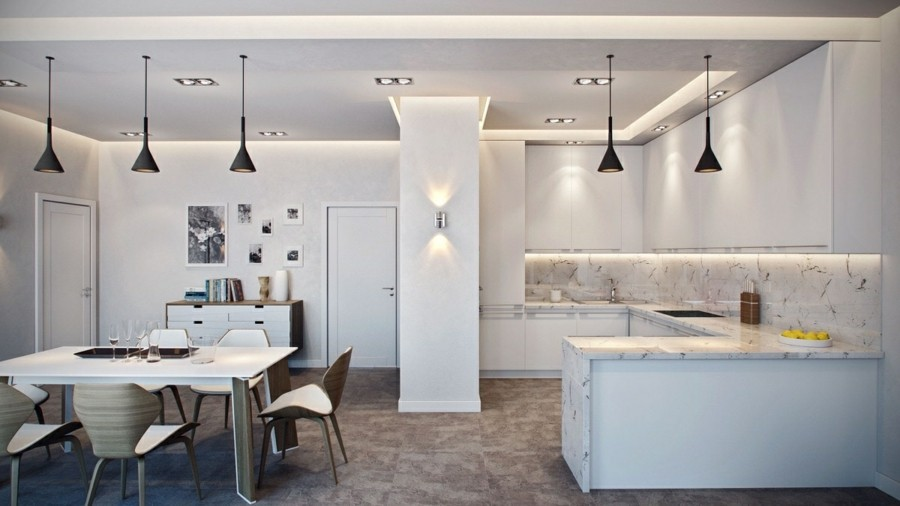 küchenrückwand marmor mit feiner maserung moderne beleuchtung pentelleuchten