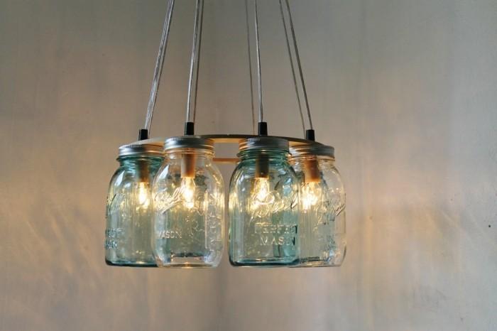 kronleuchter selber machen aus alten mason gläsern