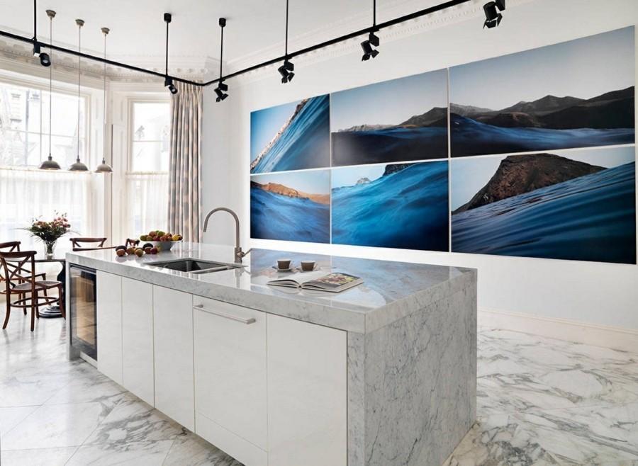 marmor arbeitsfläche kücheninsel wandgestaltung mit fotos fotowand selber machen