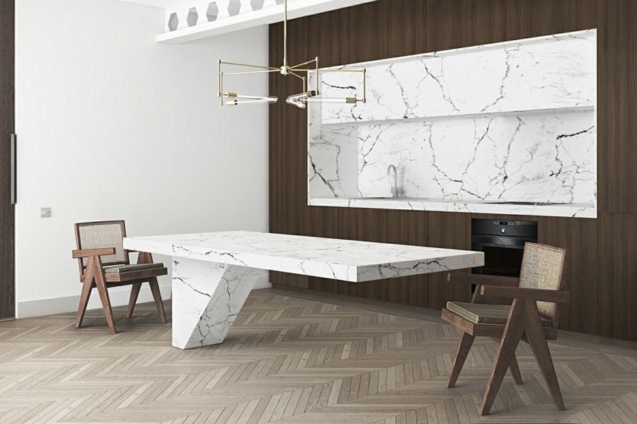marmor in der küche als esstisch und küchenrückwand