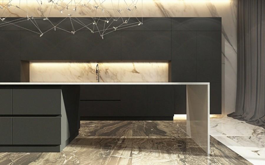 marmor küche bodenbelag und küchenrückwand luxus