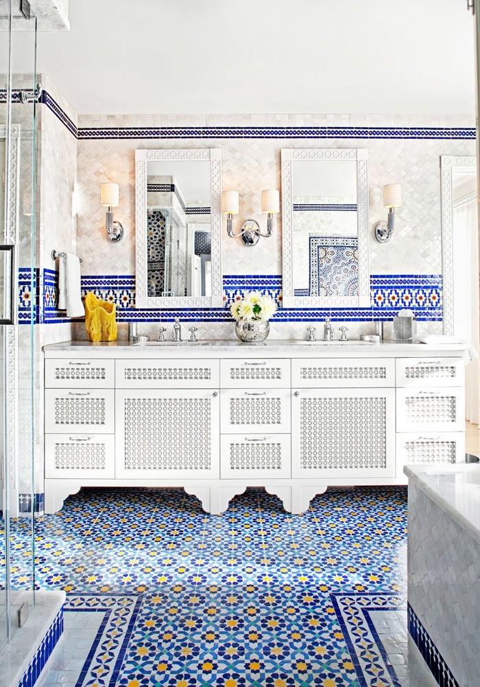 marokkanische fliesen zementfliesen interirdesign ideen wohnung design anders denken mosaik fliesen blau