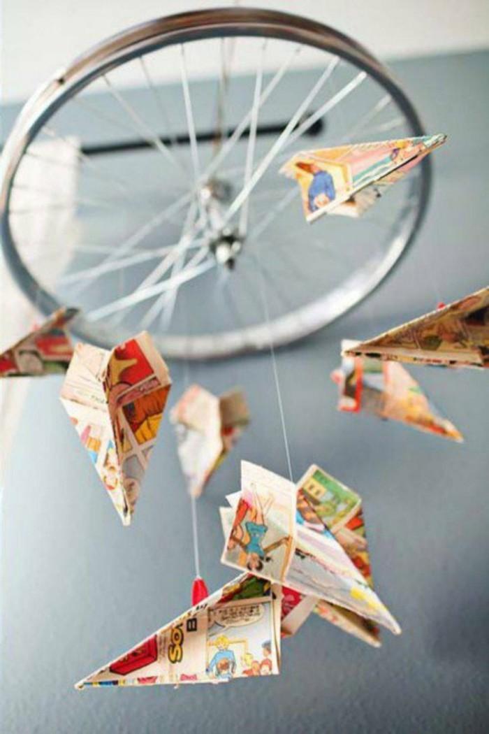 mobile selber basteln aus fahrradrad papier