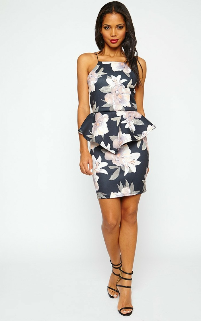 mode für frauen elegantes kleid mit blumendruck
