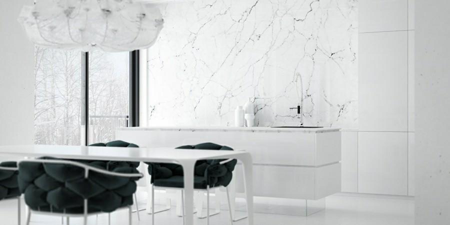 moderne kücheneinrichtung mit marmor küchenrückwand