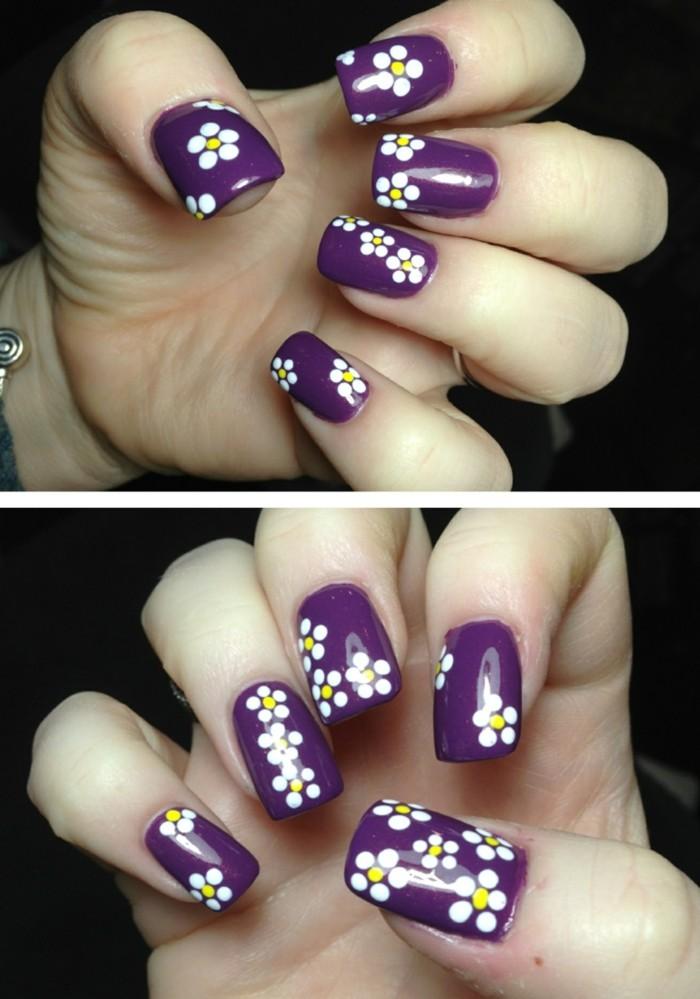nageldesign frühling ideen mit blumen und lila nagellack