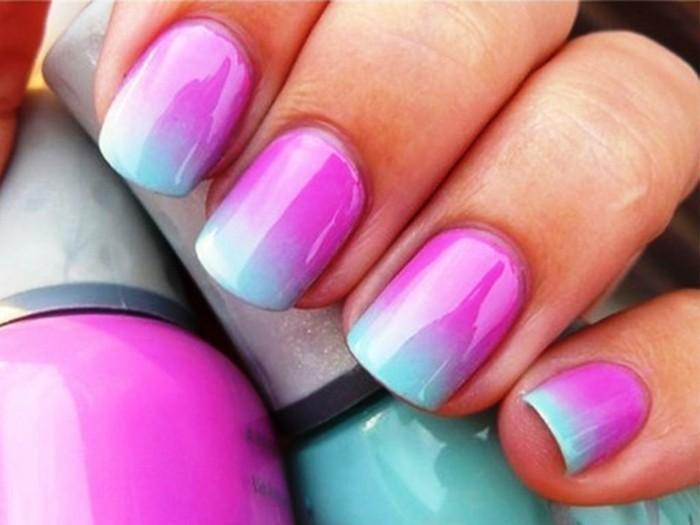 nageldesign ideen für frühling ombre stil in frischen farben
