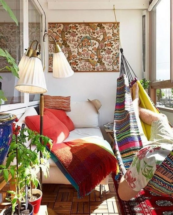 balkon ideen balkongestaltung platzsparende moebel hippie style
