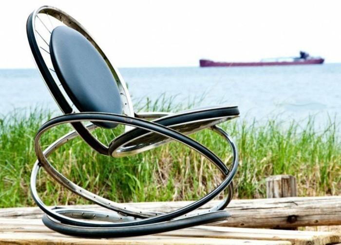 schaukelstuhl aus alten fahrradrädern selber bauen diy ideen