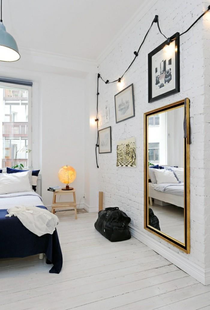 schlafzimmer ideen wandgestaltung weiße ziegelwand wandbilder wandspiegel