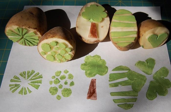 stempel selber machen rosenkohl blumen muster t shirt gemüse druck kartoffel