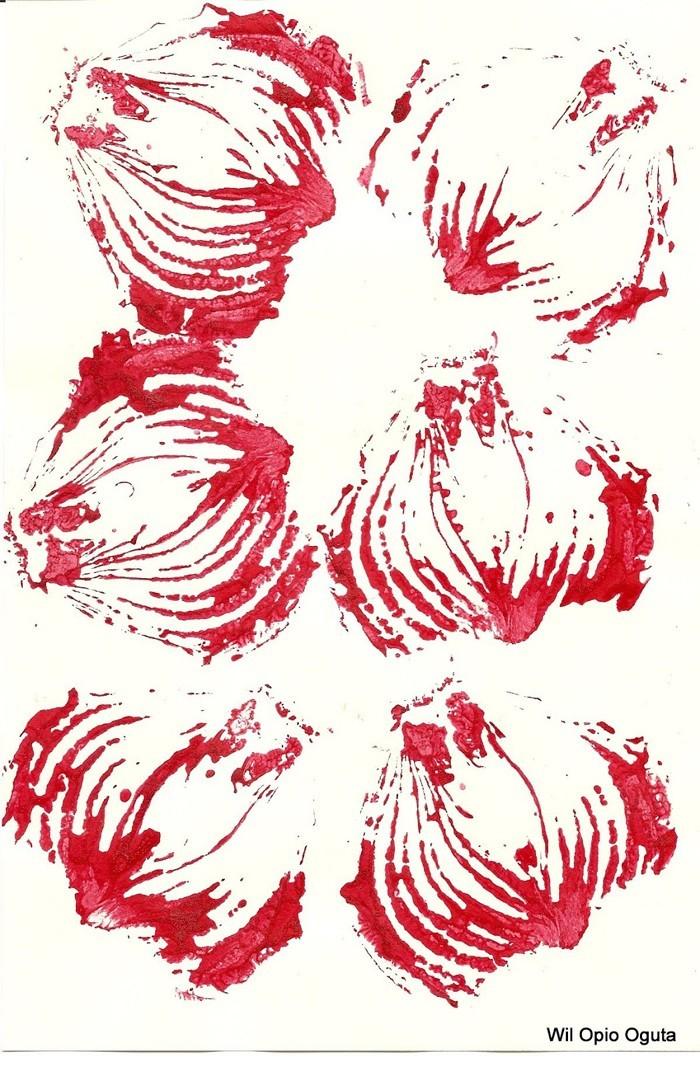 stempel selber machen rosenkohl blumen muster t shirt zwiebelmuster