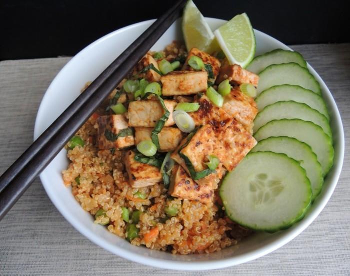 tofu naehrwerte auf quinoa und gemuese