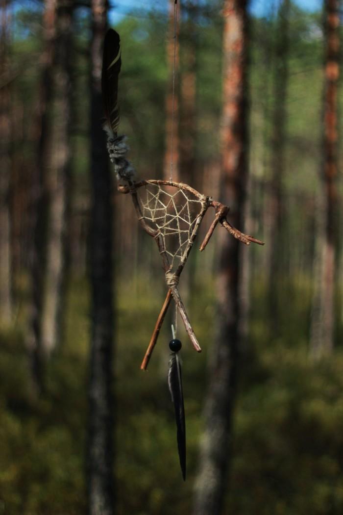 traumfänger basteln mit naturematerialien dreieck