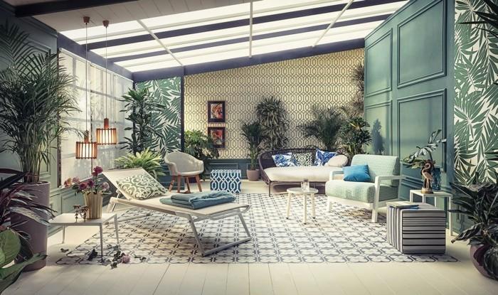 urban jungle stil im wohnzimmerzimmerpflanzen