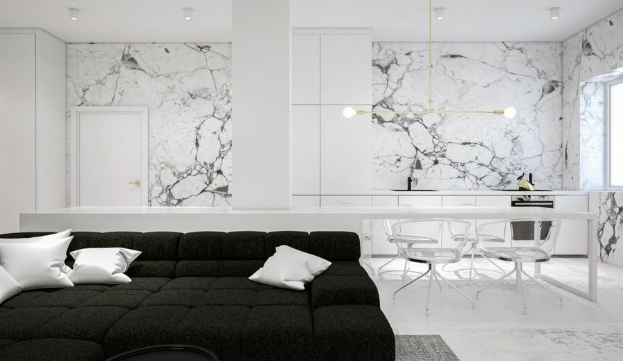wandgestaltung mit marmor in der küche