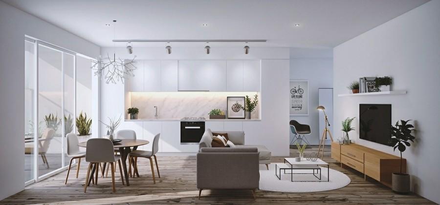 weisse küchenschränke und marmor küchenrückwand runder esstisch