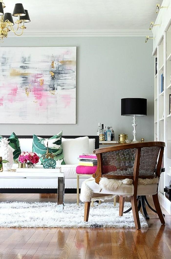 wohnideen wohnzimmer braun lila