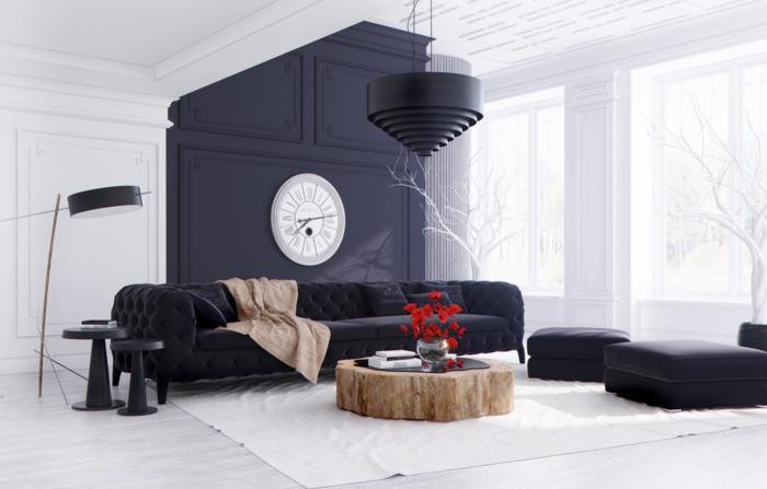 farben kombinieren wohnideen wohnzimmer dunkle möbel runder couchtisch rustikal