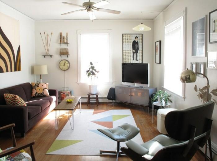 farbkombinationen wohnideen wohnzimmer geometrischer teppich retro stil