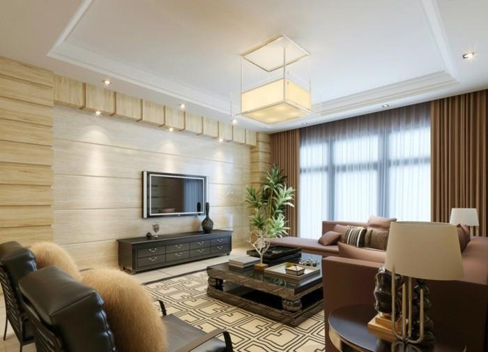 einrichtungsideen wohnideen wohnzimmer neoklassisch pflanzen abgehängte decke