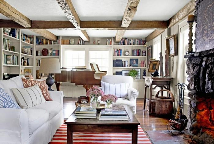 einrichtungsideen wohnideen wohnzimmer streifenteppich landhausstil blumen gemütlich