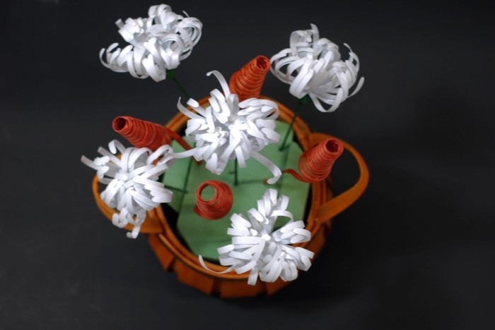 zimmer deko diy chrysanthemen aus papier selber basteln