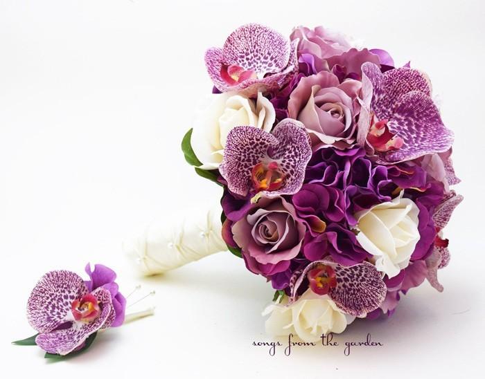 blumenstrauß vintage orchideen