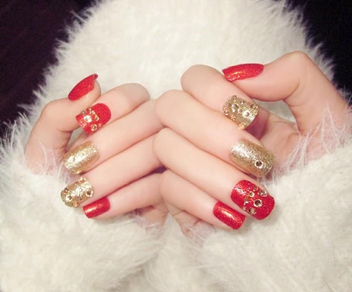 chic hochzeitsnägel gelnägel ideen rot gold glitzer strasssteine