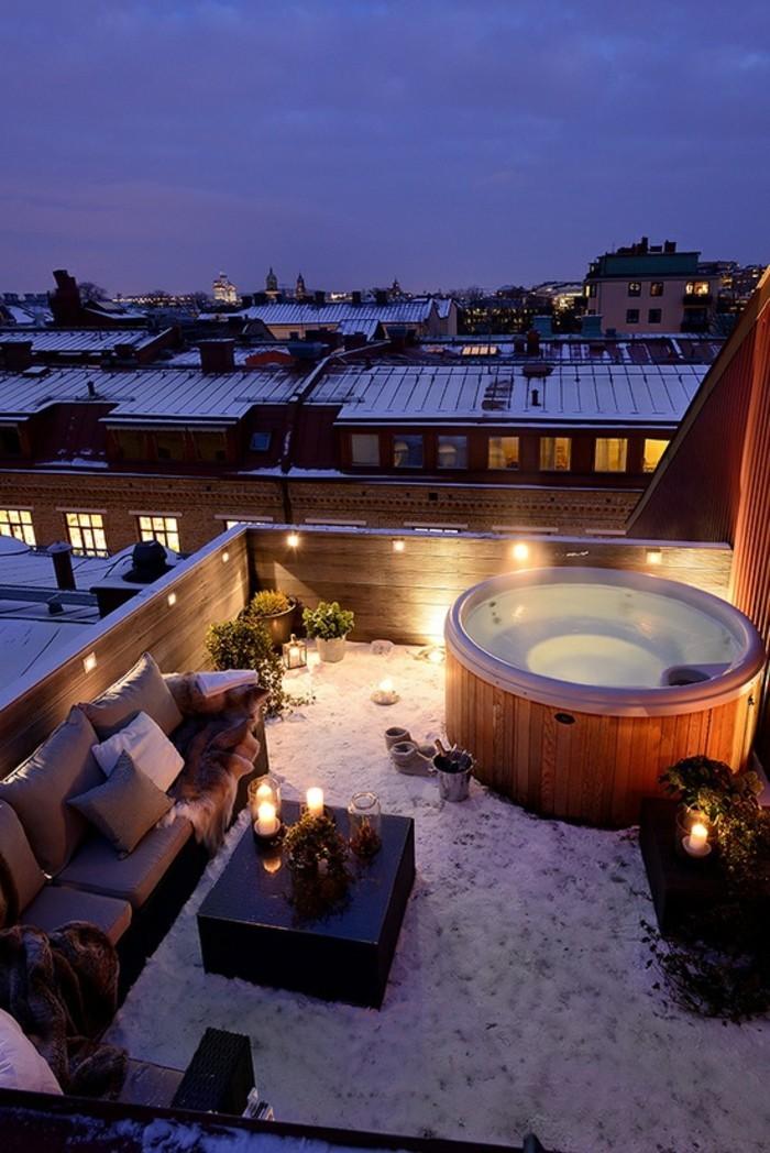 dachterrasse im winter gestalten eine romantische atmosphäre schaffen
