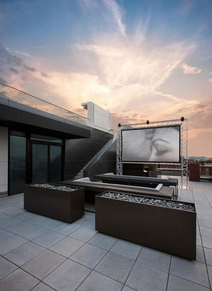 dachterrasse moderne terrassengestaltung in naturfarben