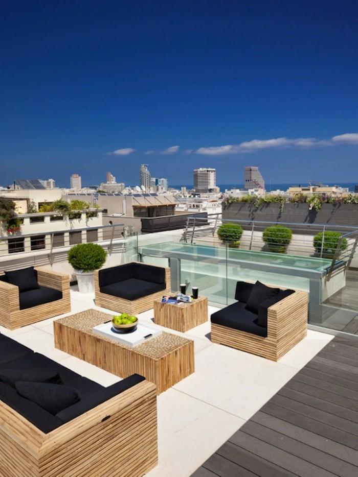 dachterrasse moderne terrassengestaltung mit teppich