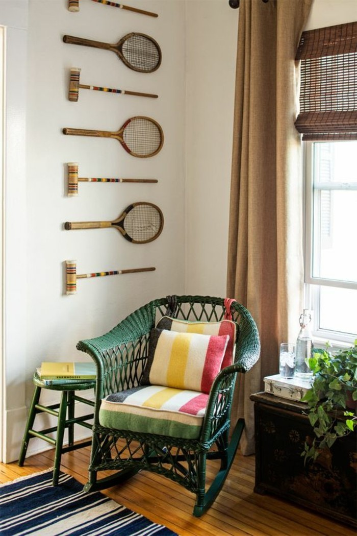 deko selber machen aus tennisschlägern die wand kreativ dekorieren