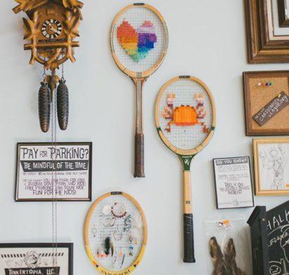 deko selber machen aus tennisschlägern und tennisbällen, Garten und erstellen