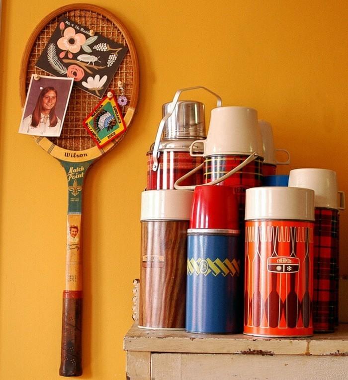 diy deko aus alten tennisschlägern wanddkeo basteln