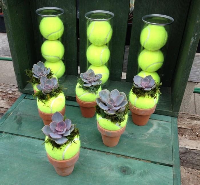 diy deko für den garten mit tennisbällen