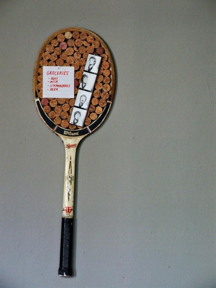 diy deko korktafel aus tennisschläger machen