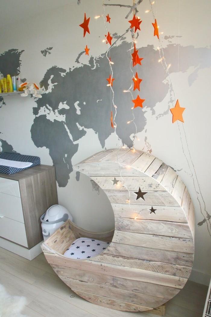 diy mondschaukel aus europaletten mit sternen babybett