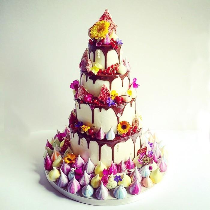 drizzle cake früchte blumen vanille schokolade
