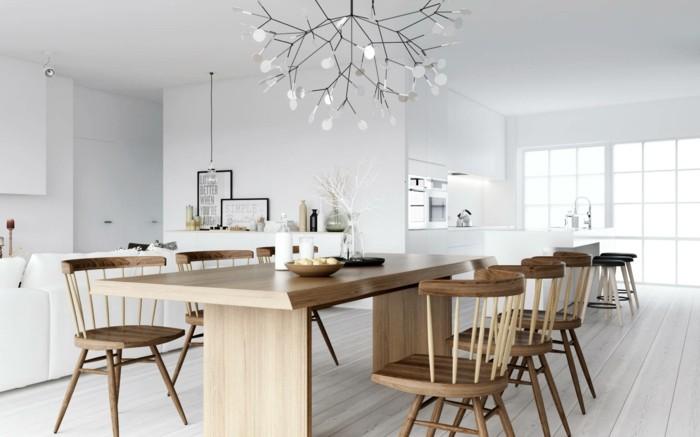 esszimmer modern speisezimmer nordisch einrichten mit holzmöbeln und ausgefallenem leuchter